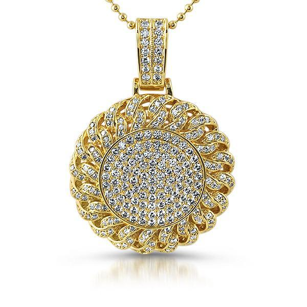 Gold Cuban Link Round Iced Out Pendant
