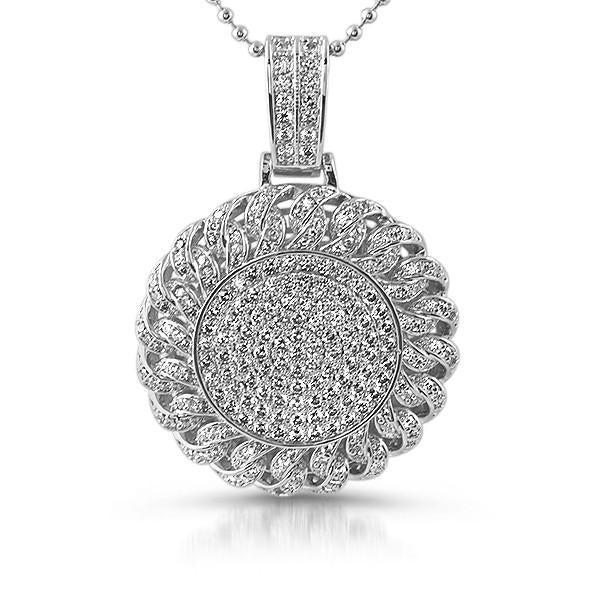 Silver Cuban Link Round Iced Out Pendant