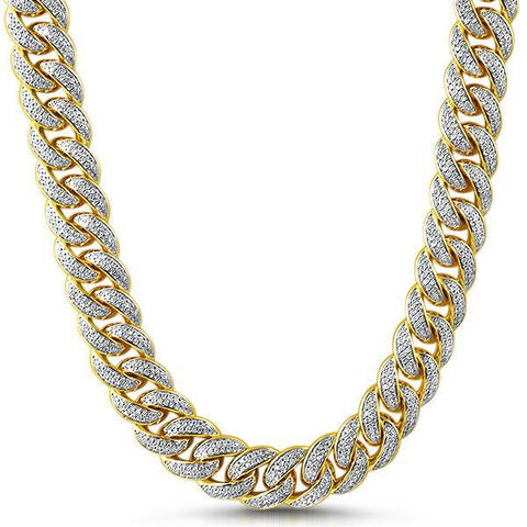 15mm Gold Iced Out Miami Cuban Link Chain