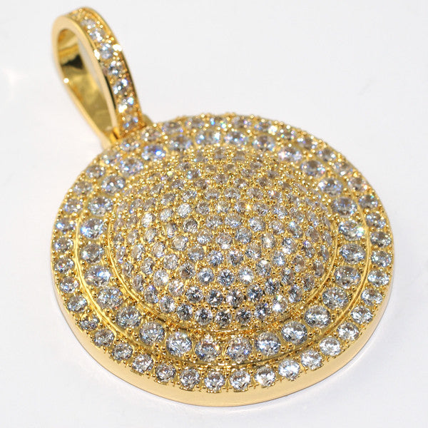 Gold Iced Out Round Medallion With Chain