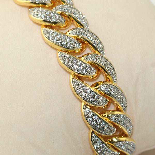 15mm Iced Gold Plated Miami Cuban Bracelet