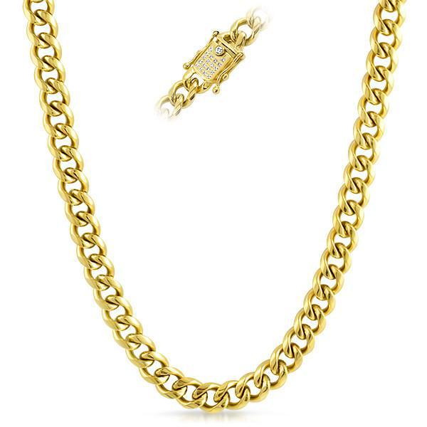 10mm Iced Clasp 18K Gold IP Cuban Chain