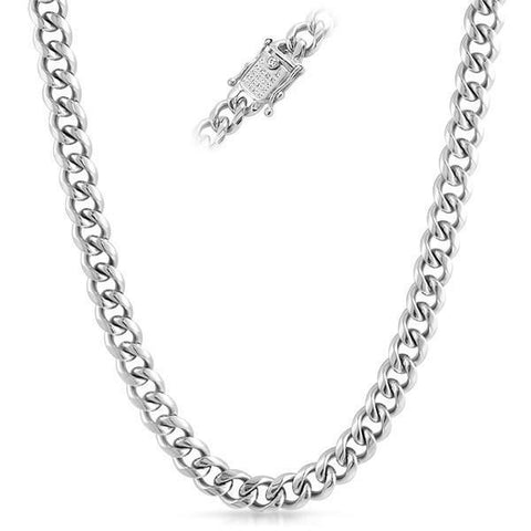 10mm Iced Clasp Stainless Steel Cuban Chain