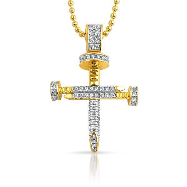 Gold Designer Mini Nail CZ Cross Pendant