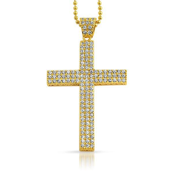 Gold 3 Row Iced Out Block Cross Chain
