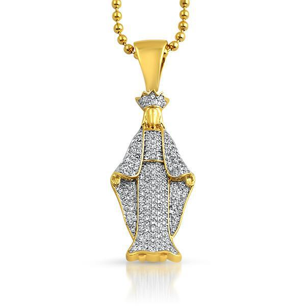Gold Iced Out Virgin Mary Pendant With Chain