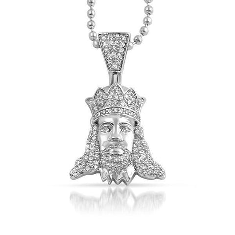 Silver Young Jesus Iced Out Pendant