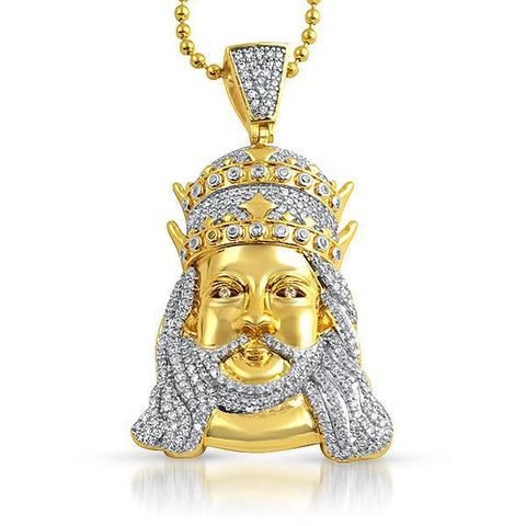 Gold Double Crown Jesus Iced Out Pendant