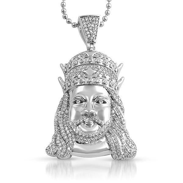 Silver Double Crown Jesus Iced Out Pendant