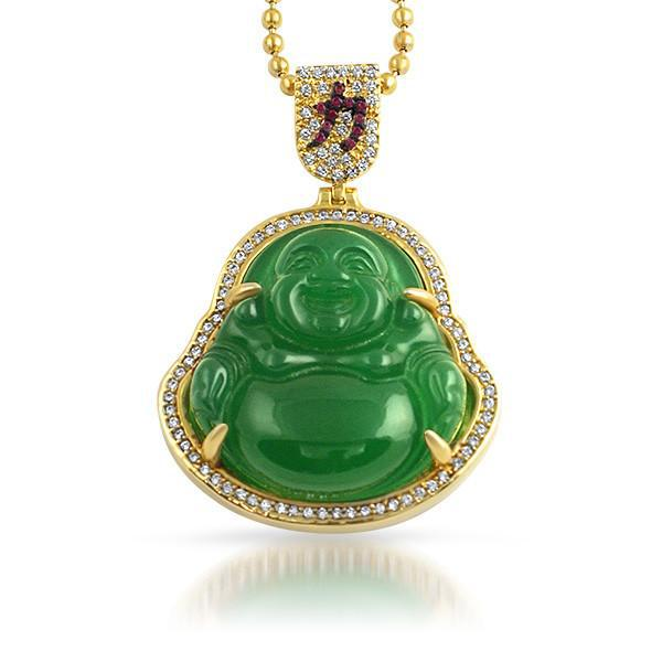 Synthetic Jade Gold Lucky Buddha Chain