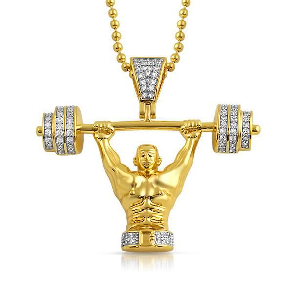 Gold Powerlifter CZ Pendant With Chain