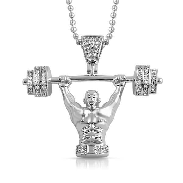 Silver Powerlifter CZ Pendant With Chain