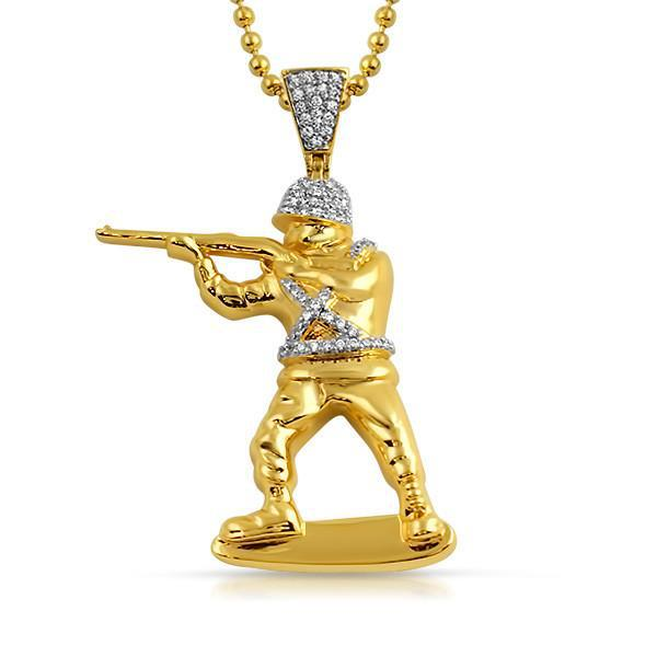 Gold Soldier CZ Pendant With Chain