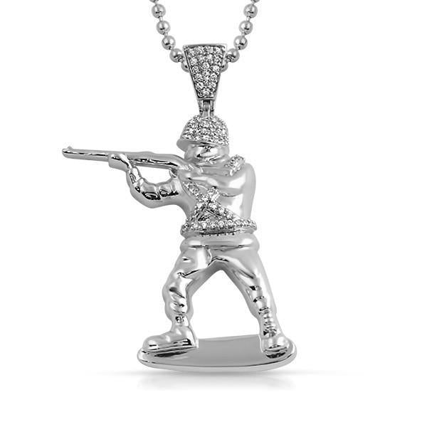 Silver Soldier CZ Pendant With Chain