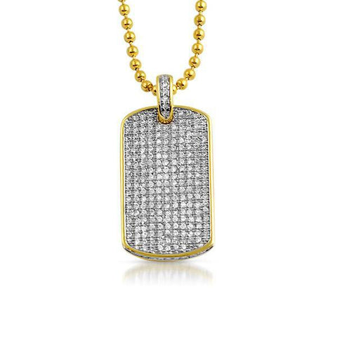 Gold Iced Out Mini Dog Tag Chain