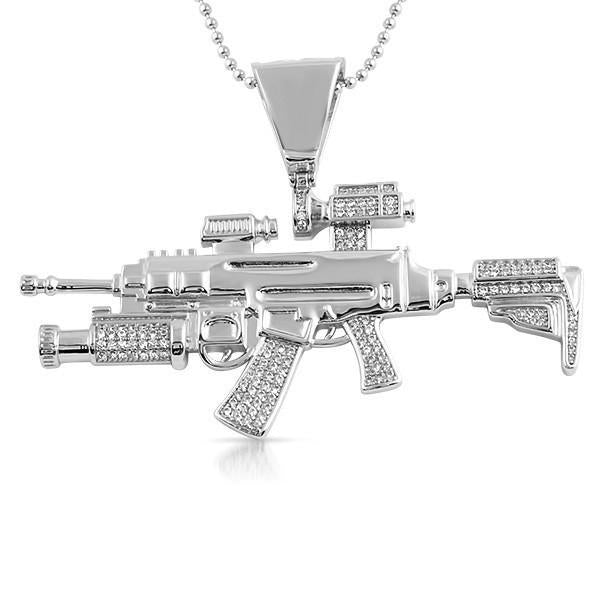 Silver Machine Gun CZ Pendant With Chain