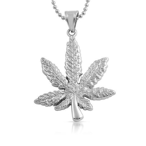 Stainless Steel Marijuana Leaf Pendant