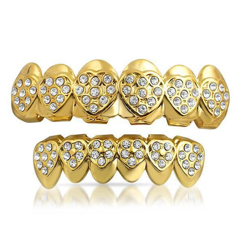 Gold Heart Pattern Mouth Grillz Combo