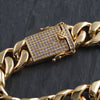 15mm Iced Clasp Gold Luxury Cuban Bracelet