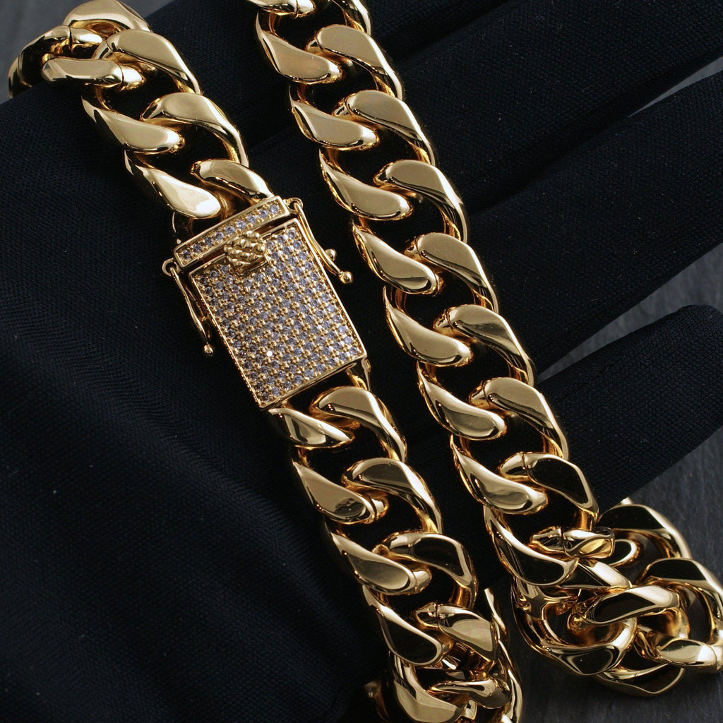15mm Iced Clasp Gold Luxury Cuban Chain