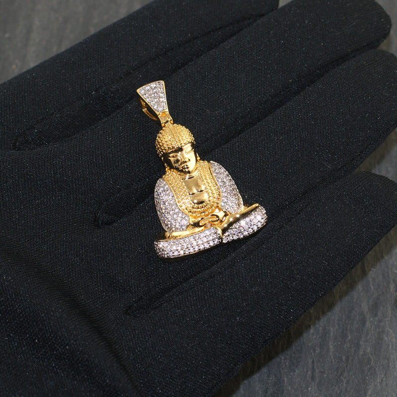 Gold Sitting Thai Buddha CZ Pendant