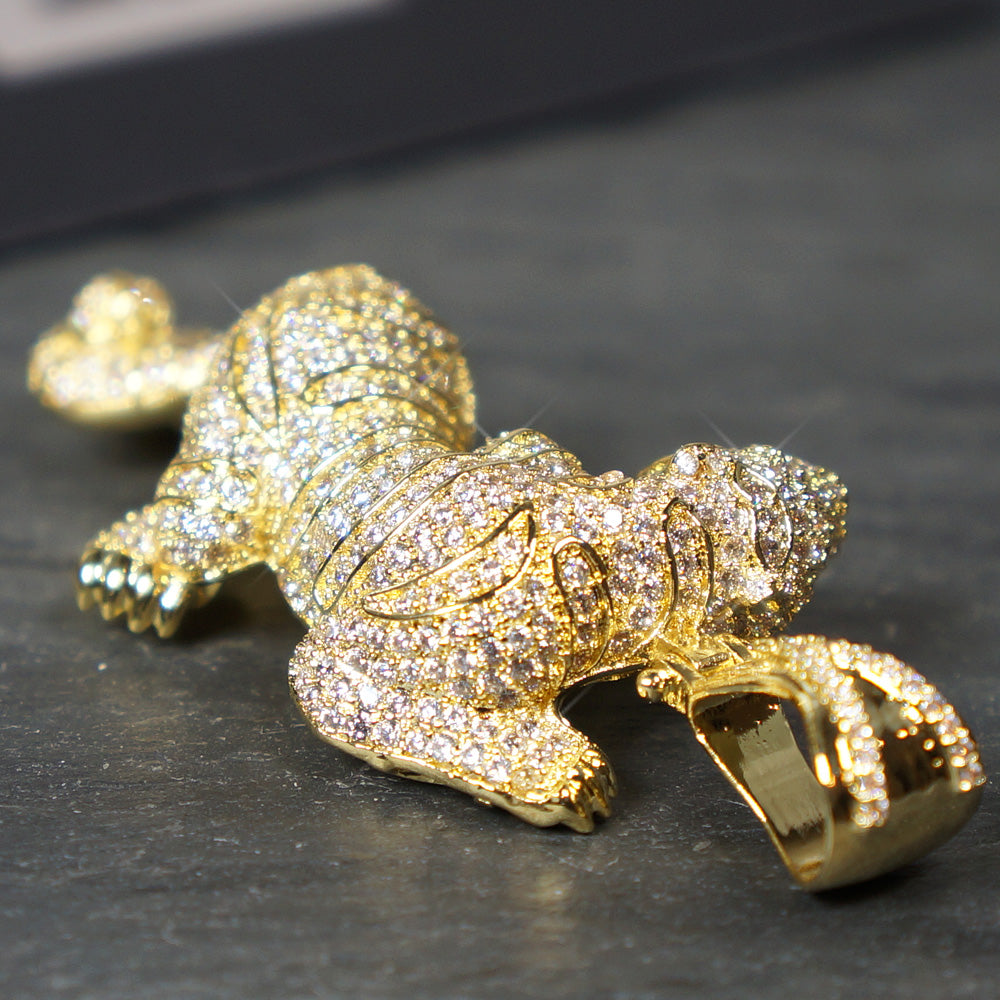 14K Gold 3D Diamond Mini Tiger Pendant