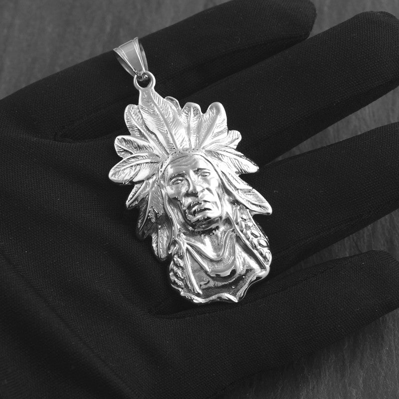Stainless Steel Large Indian Chief Pendant