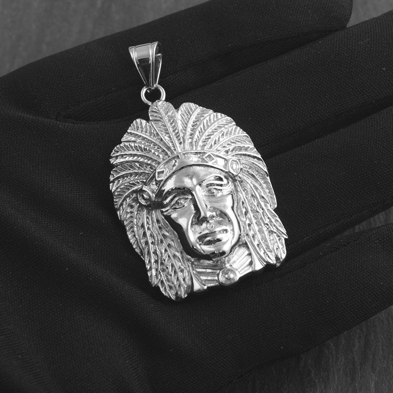 Stainless Steel Indian Chief Pendant