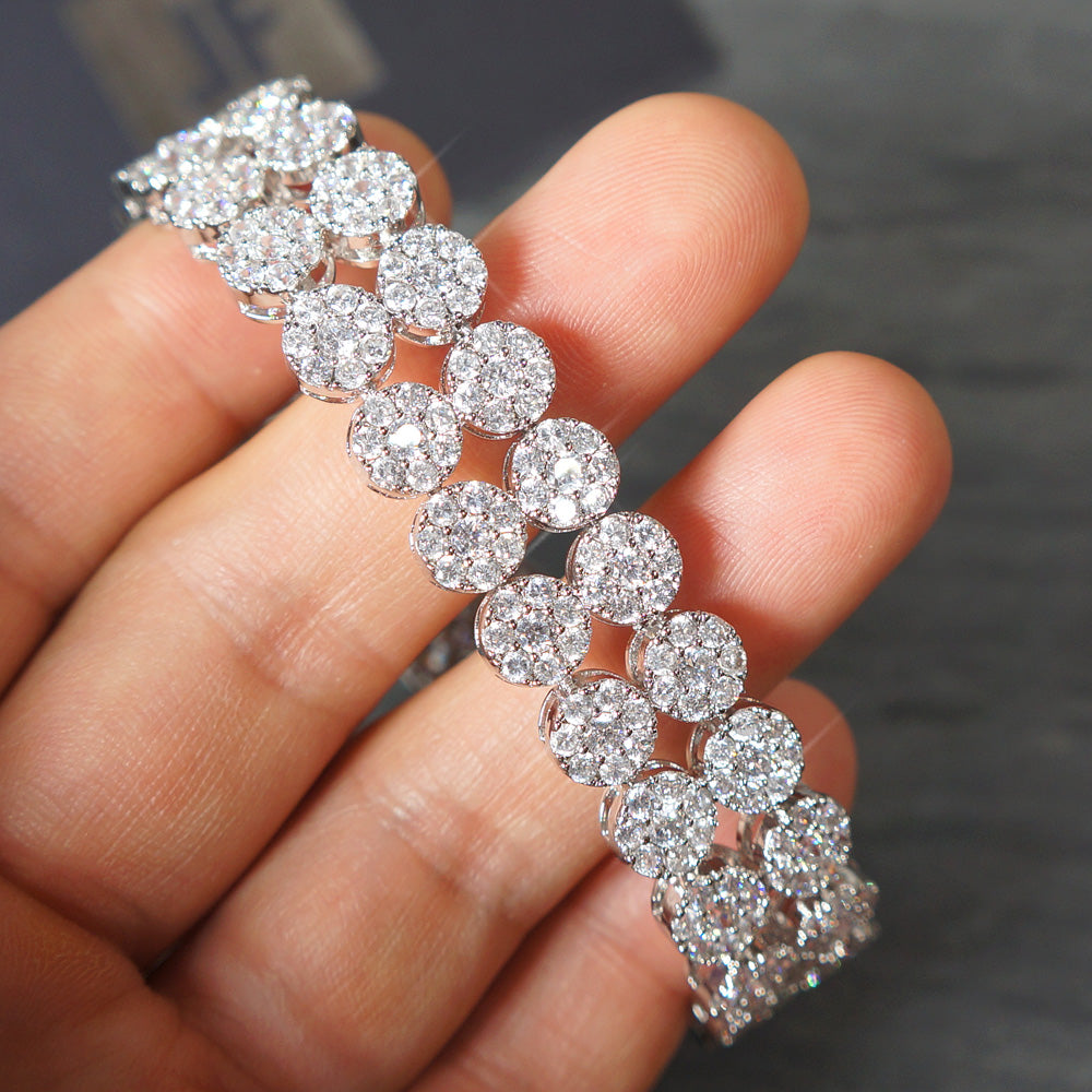 2 Row White Gold Iced Out CZ Cluster Bracelet