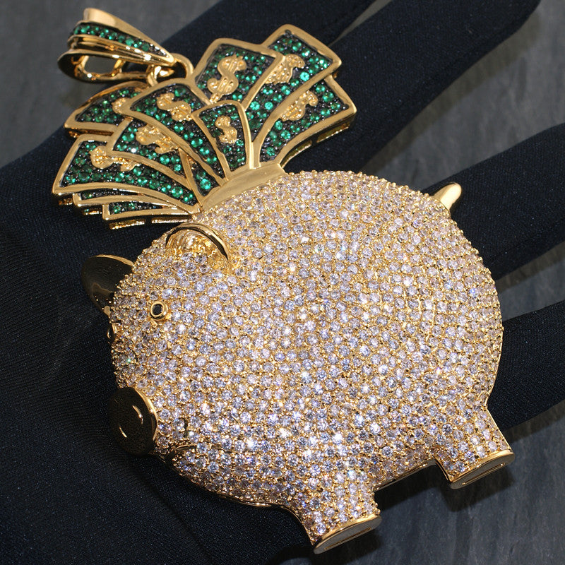 Gold Finish 3D Piggy Bank Iced Out Pendant