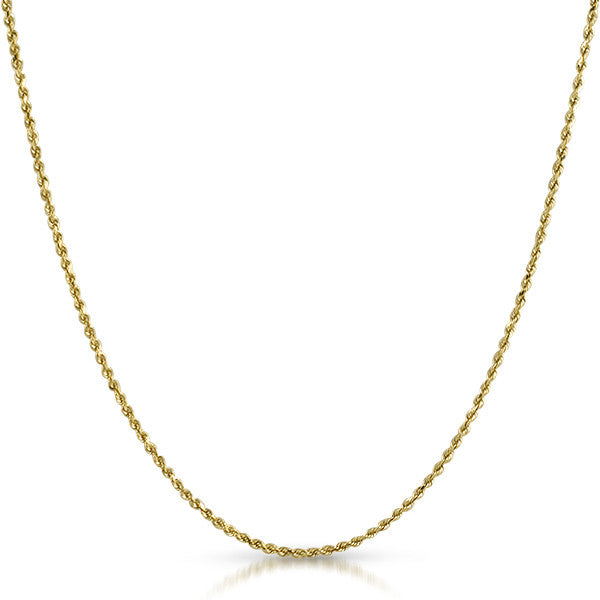 1.5mm Solid Rope Genuine 10K Gold Chain