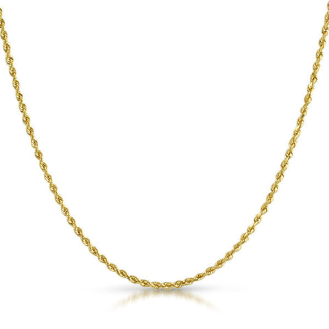 2mm Solid Rope Genuine 10K Gold Chain
