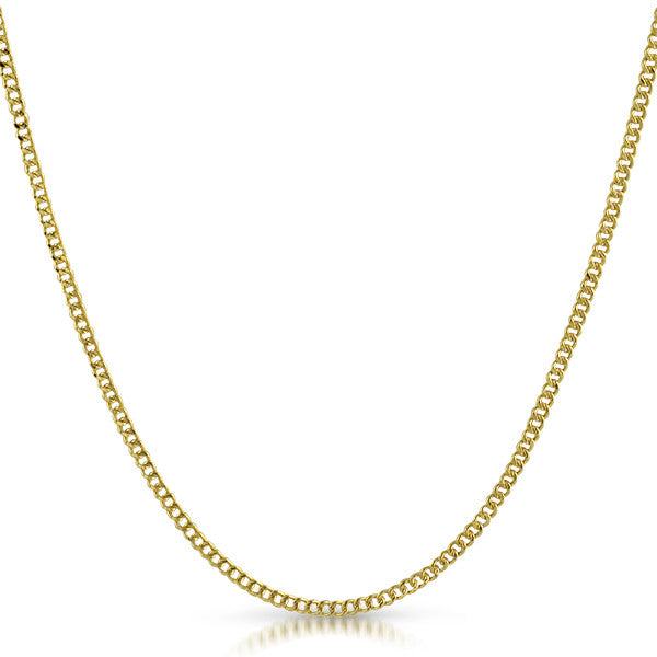2mm Hollow 10K Gold Cuban Chain