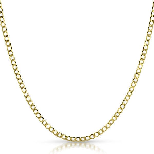 3mm Hollow 10K Gold Cuban Chain