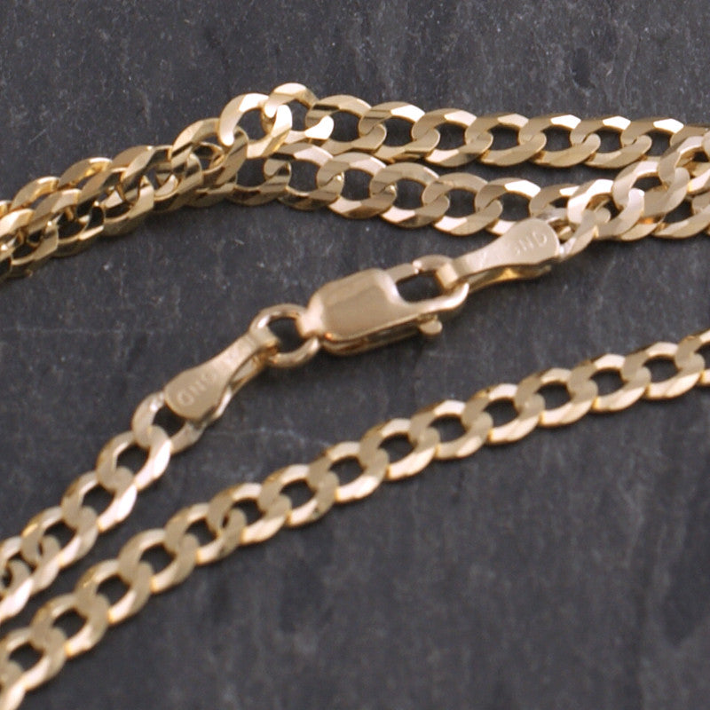 3mm Solid 10K Gold Cuban Chain