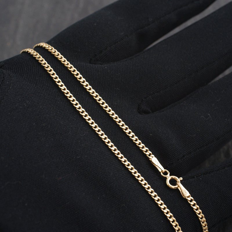 2mm Solid 10K Gold Cuban Chain