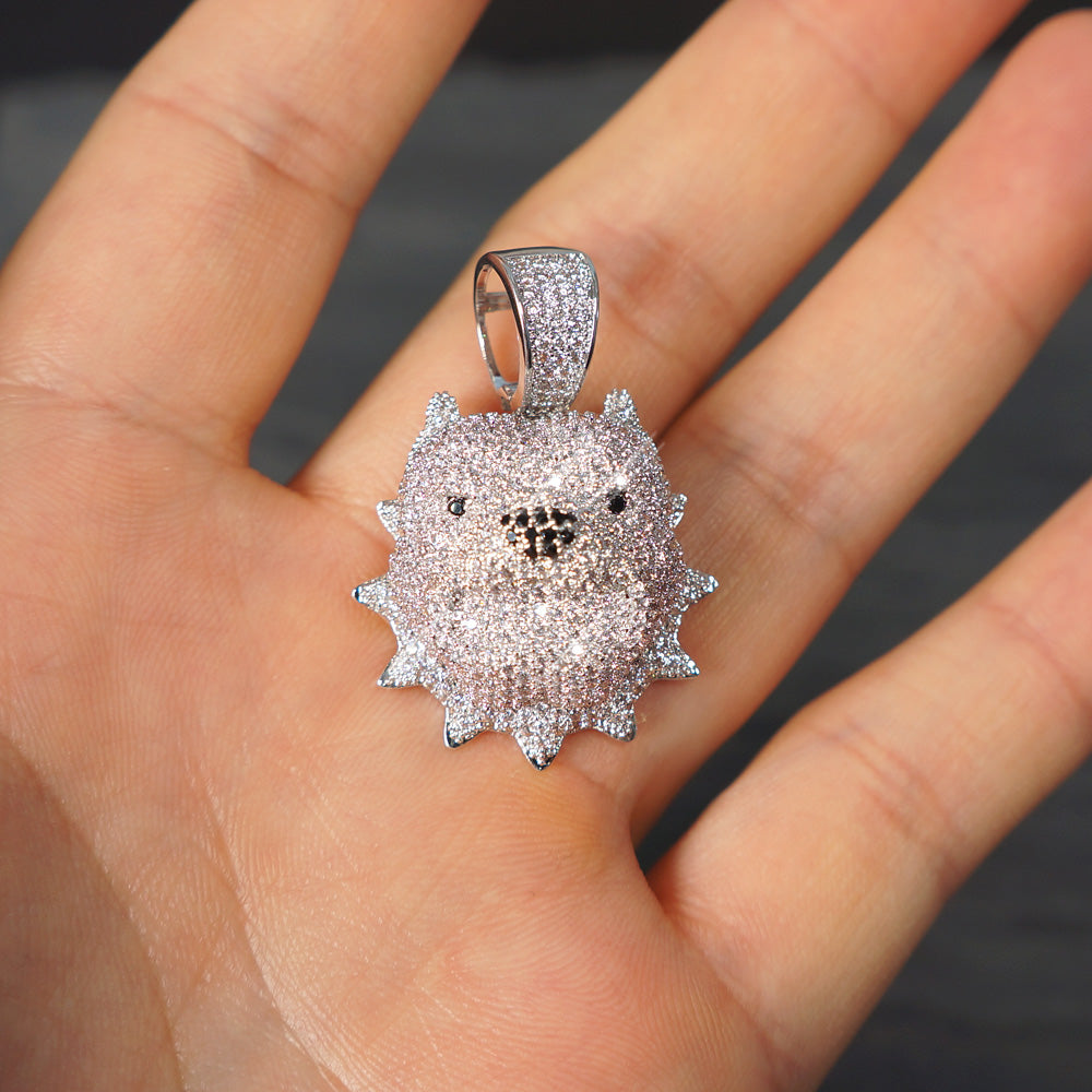 White Gold 3D Iced Out Small Pitbull Pendant