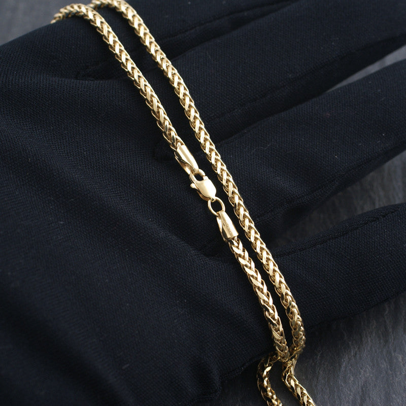 3mm Shiny Diamond Cut 10K Gold Wheat Chain