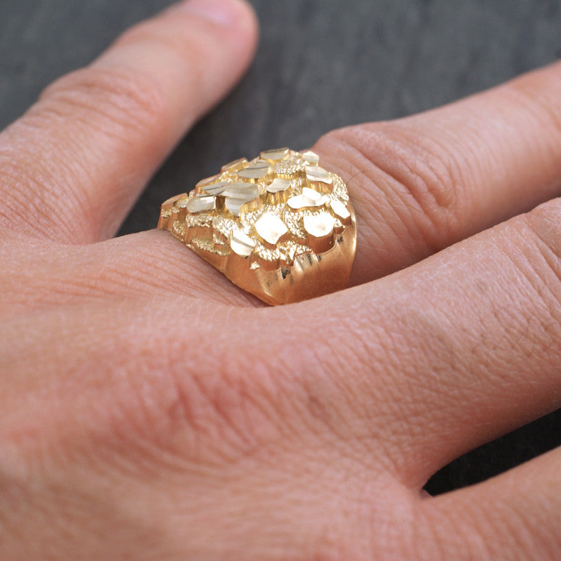 Gold Diamond Cut Mens Nugget Ring