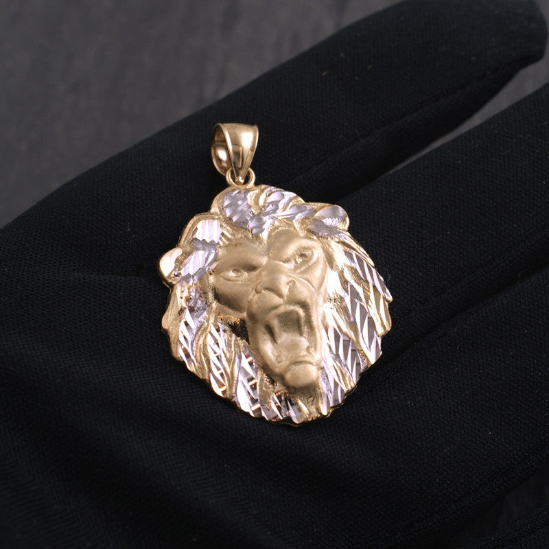 10K Gold Two Tone Diamond Cut Lion Pendant