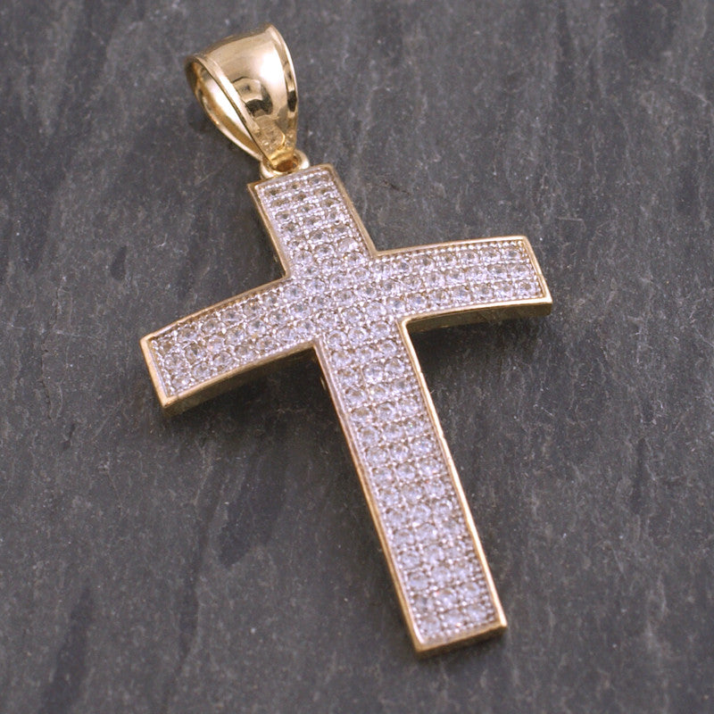 10K Gold Iced Out Cross Pendant