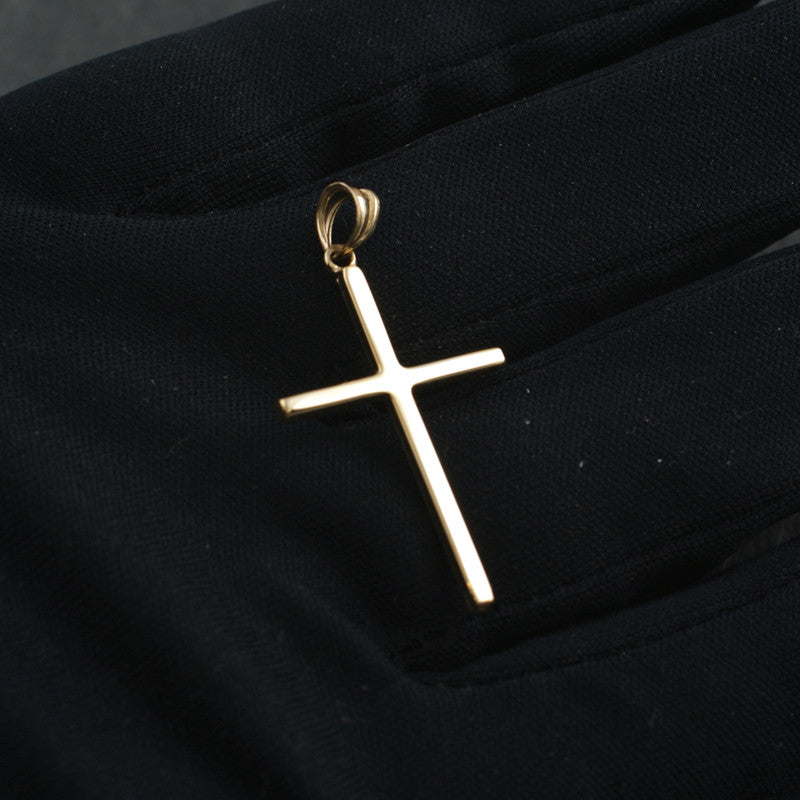 10K Gold Simple Polished Cross Pendant