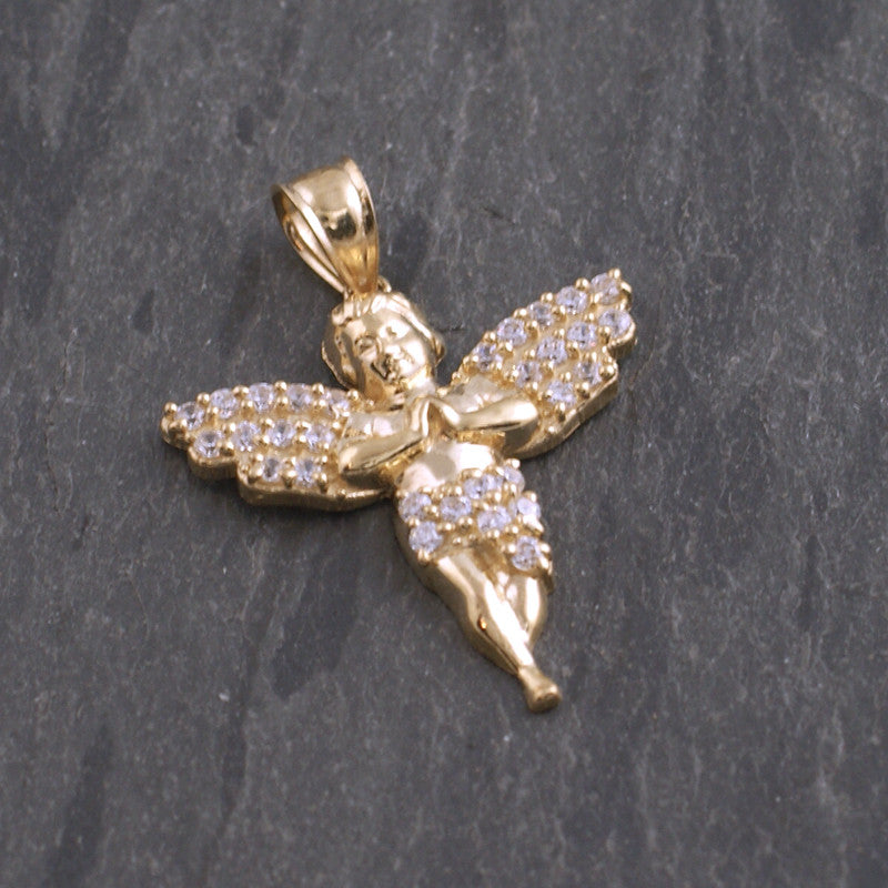 10K Gold Iced Out Micro Angel Pendant