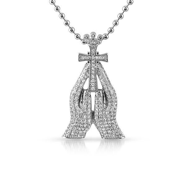 Silver 3D Mini Praying Hands Iced Pendant