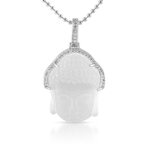 Silver Frosted Crystal Buddha Piece