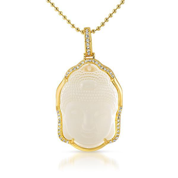 Gold Frosted Crystal Buddha Pendant