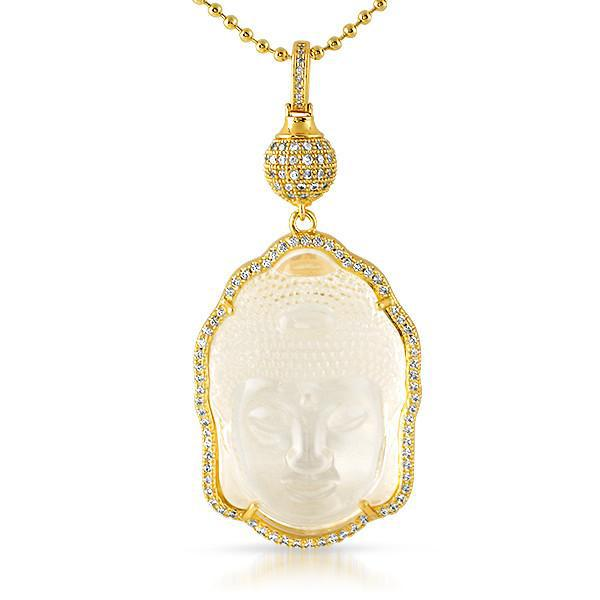 Gold Carved Crystal Buddha Pendant