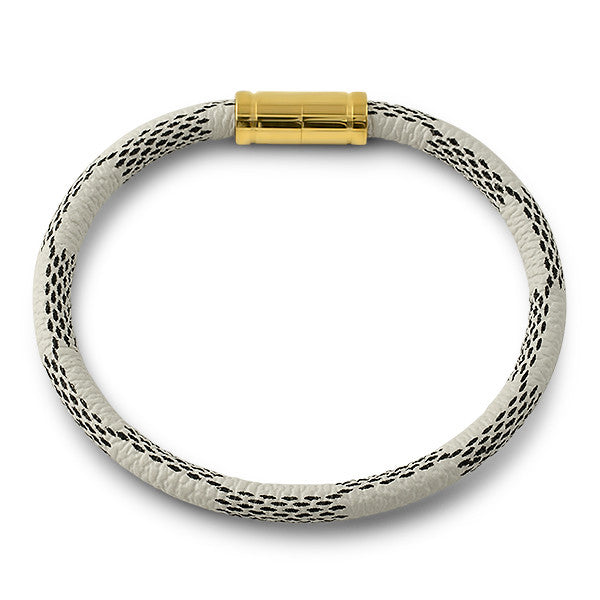 Designer Style White Leather Bracelet