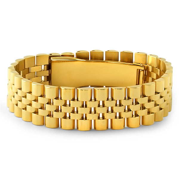 Gold Stainless Steel Polished Jubilee Bracelet