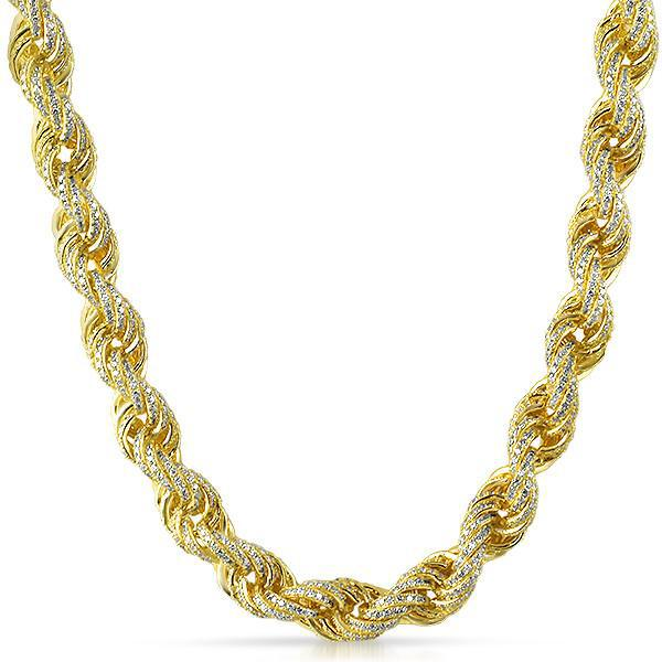 11mm Gold 925 Silver Iced Out Rope Chain Jewelryfresh